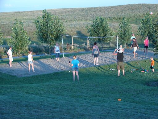 volleyball court at Elm Lake Lodge